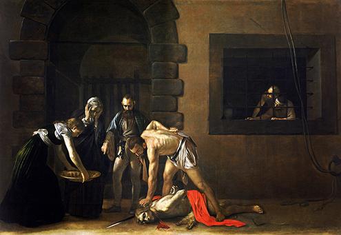La decapitación de San Juan Bautista o Degollación de San Juan Bautista, 1607-08, (Barroco Italiano), Óleo sobre lienzo, 361 x 520 cm., Museo de San Juan de La Valetta (Malta)-495.jpg